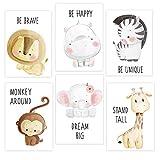 Juego de 6 imágenes decorativas para habitación de niños y niñas, DIN A4, póster de animales para habitación de los niños, DIN A4, sin marco, decoración para habitación infantil
