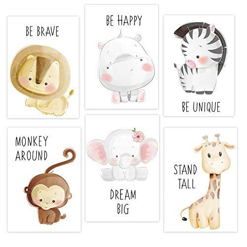 6er Set Bilder Kinderzimmer Deko Mädchen Junge DIN A4 Poster Tiere Kinderzimmer Deko DIN A4 ohne Bilderrahmen Kinderzimmer deko mädchen kinderposter Dekoration