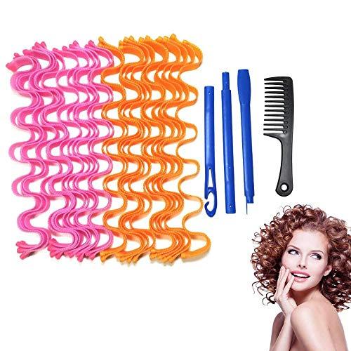 lockenwickler 24pc und 1 schwarz großer kamm, keine hitze lockenwickler für langes haar, weiche silikon-lockenwickler mit styling-haken, bendy lockenwickler (45cm)