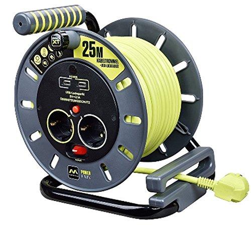 Luceco OME25162USL-PX kabelhaspel met USB-aansluitingen, 3000 W, 250 V, grijs/pistache groen