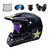 MRDEAR Casco Descenso Hombre, Negro/Rockstar - Adulto Casco Motocross Enduro MTB con Gafas/Máscara/Guantes/Red Elástica, Casco Cross Quad Off Road ATV Scooter,L