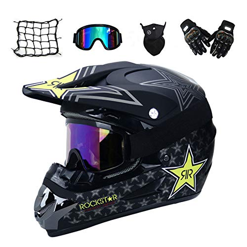 MRDEAR Casco Descenso Hombre, Negro/Rockstar - Adulto Casco Motocross Enduro MTB con Gafas/Máscara/Guantes/Red Elástica, Casco Cross Quad Off Road ATV Scooter