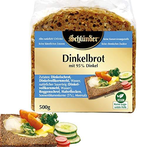 Schlünder Dinkelbrot mit 95% Dinkel- vegan & glutenfrei, Dinkelkeimbrot ohne Zusätze&hefefrei, 100%natürlich, reich an Ballaststoffen & komplexen Kohlenhydraten, Bäckerbrot made in Germany, 500g