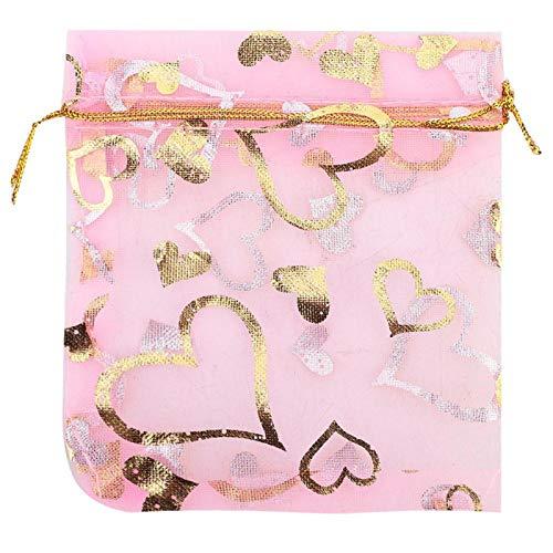 Alvinlite Favor de la Boda Regalo Bolsa de Malla Bolsas con cordón Bolsa de joyería 5 Colores para Boda Cumpleaños Baby Shower 100pcs(Rosado)