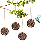 ADXCO 4 Pieces Hummingbird Nesting Bird Nesting Materials Holder Bird Nesting Materials Holder Hummingbird House with Cotton for Outdoor Nesting, 4 Inch