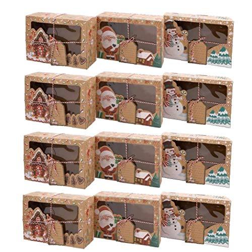 Sanfiyya Cajas de Galletas de Navidad de la Magdalena de Navidad de Regalo de Papel Cajas del Caramelo con la Ventana Clara Etiquetas de Fiesta de la Navidad del Partido 12PCS