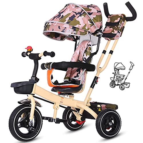 OHHG Bicicleta niños, Triciclo Triciclo niños, Bicicleta niños 1-3-6 años Trolley Bicicleta Toldo Reversible Pedal Plegable Multifunción