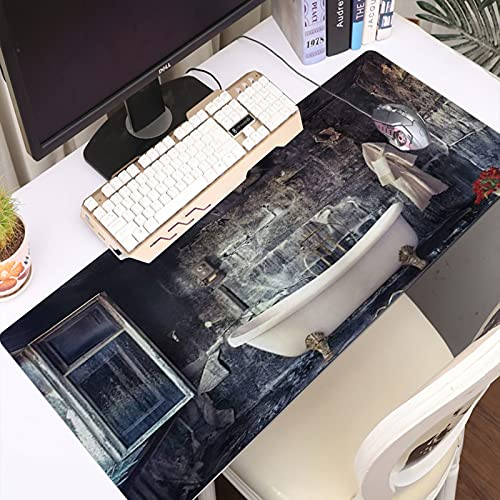 FAQIMEI Alfombrilla Gaming para PC Bañera Antigua en la habitación Vieja Florero con Ramo de Flores Frescas Estilo Retro vict Máxima Precisión con Base de Caucho Natural, Máxima Comodidad
