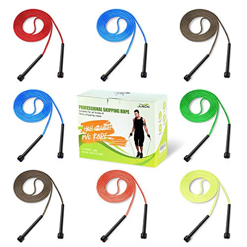 JUSDO 8 Pack Adjustable PVC Jump Rope for Cardio Fitness - Versatile Jump Rope for Both Kids and Adults - Great Jump Rope for Exercise,9 Feet