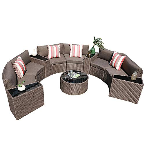 SUNSITT Outdoor Sectional Set 11-Piece Half Moon Patio Furniture, PE Wicker Sofa Taupe Cushions with 4 Side Table and 4 Pillows