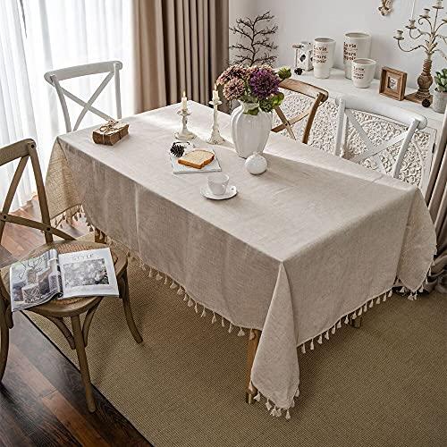 Mantel de Lino Lavable Mantel Retro a Prueba de Polvo Mesa de Cocina Escritorio Decoración del hogar Borla Mantel Rectangular A 140x220cm