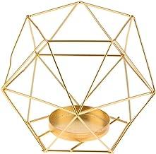 HOMYL Copper 3D Geometric Iron Wire Candle Holder Candlestick Wedding Holidays Birthdays Christmas Halloween - Gold