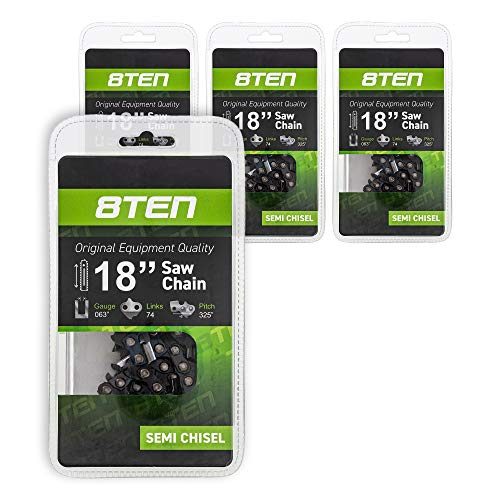 8TEN Chainsaw Chain for Stihl 260 261 270 280 290 360 361 380 22BPX074G 18 inch .063 .325 74 Drive Links 4 Pack