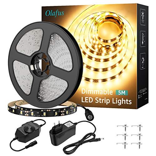 Olafus Tira LED 5M Regulable, Tira LED 12V Blanco Cálido 3000K, 300 LEDs 2835 con Adaptor y Regulator Cinta LED para Decoración Interior Fiestas, Jardín, Dormitorio, Escaleras, Cocina, Gabinete, Bar