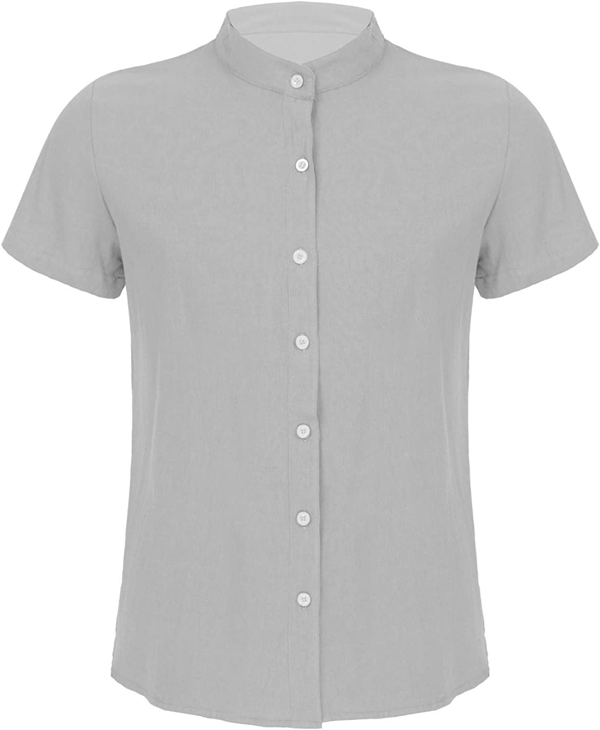 FEESHOW Men's Cotton Linen Button Down Dress Shirt Short Sleeve Casual Slim Fit Shirt Top