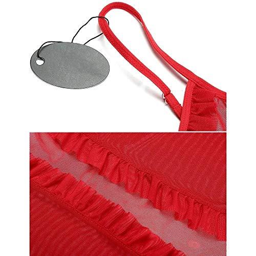 HiloRill Women's Georgette Nightwear Lingerie Naughty Sleepwear Babydoll Dress with G-String Panty (Red, Free Size)