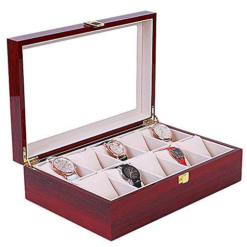 Caja de Reloj Caja de Reloj Caja de exhibición de Almacenamiento de Joyas Vino Rojo Piano de Madera Pintura Techo Solar de Vidrio Hermosa Cerradura 10 Almacenamiento de Reloj