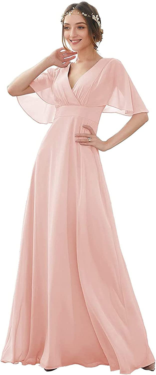 Blush V-Neck Bridesmaid Dresses for Wedding Batwing Sleeve Long for Women Formal Evening Gown Plus Size 20