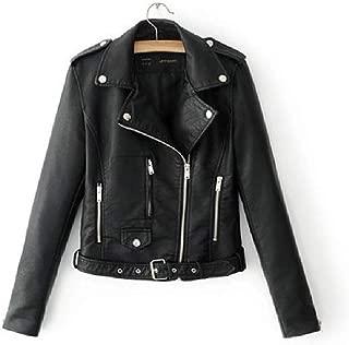 Howely Women's Short Faux Leather Slim-Fit Biker Zip Up Moto Jacket Coat