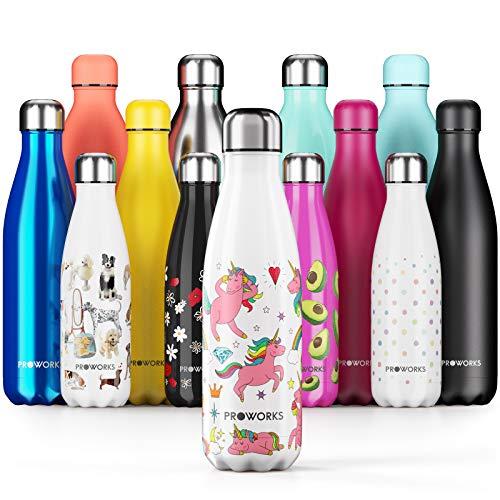 Proworks Edelstahl Trinkflasche | 24 Std. Kalt und 12 Std. Heiß - Vakuum Wasserflasche - Isolierflasche für Sport, Laufen, Fahrrad, Yoga, Wandern und Camping - 1 Liter - Weiß - Einhorn