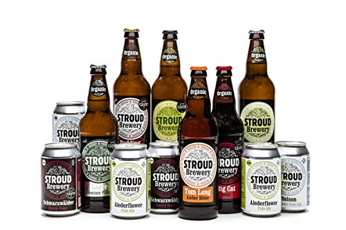 Organic Beer Lover Kit | Stroud Brewery Craft Beer | Natural Ingredients Beer Hamper | 6x500ml Bottles and 6x330ml Cans | Vegan