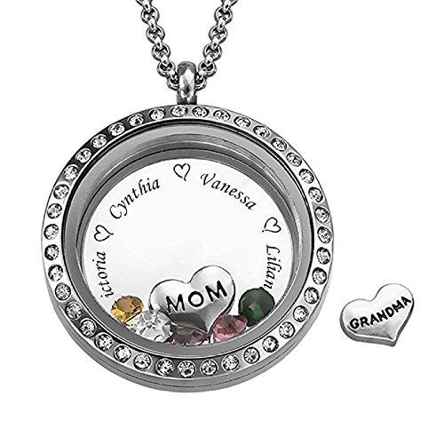 JF Personalisierte schwimmende Charms gravierte Medaillon Name Halskette für Mama oder Oma mit Birthstones