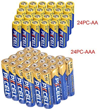 24 Pcs AA + 24 Pcs AAA 1.5V Extra Heavy Duty Batteries (48 Combo Pcs)