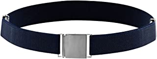 Belt for Kids and Toddlers Elastic Adjustable Strech Boys Belts With Silver Square Buckle (Navy)