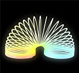Rhode Island Novelty 3 Inch Glow-in-the-Dark Coil Spring One per order Variety of rainbow colors Light activated glow Ages 3+
