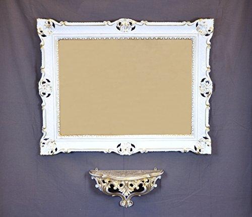 Console étagère + Miroir Blanc/Or cm 86 x 67 baroque vénitien imitation vintage Louis XVI.