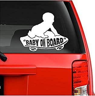 """On Board Baby Boy on Skateboard Decal Sticker (5.5"""" inches (White)"""