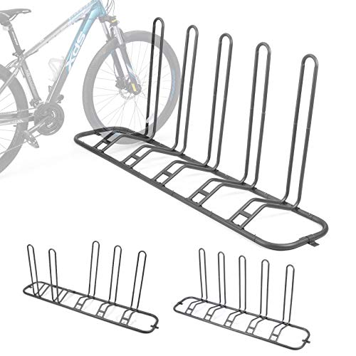Bike Parking Stand, Bike Rack Bicycle Floor Parking Stand for 5 Bikes, Adjustable Dual Purposes Bike Storage Holder for Garage, 2 Extra Floor Anchor Brackets Available, Indoor and Outdoor Use
