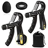 Acksky Hand Grip Strengthener, Forearm Grip Workout Kit, Adjustable Counting Resistance 11-132Lbs Grip Strength Trainer, Grip Ring& Stress Relief Grip Ball for Hand Exercising, Muscle Builder