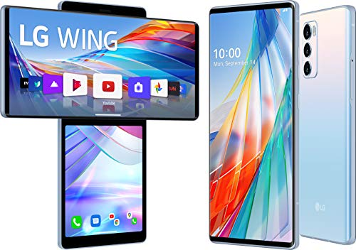 LG WING smartphone 5G con Display OLED 6.8'' ruotabile, schermo secondario 3.9'', Gimbal Motion Camera, Sensore 64MP, Batteria 4000mAh ricarica Wireless, 128GB/8GB, Android 10,Illusion Sky[Italia]