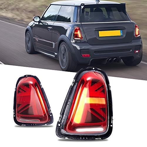 Volle LED Rückleuchten für Mini Cooper R55 R56 R57 R58 R59[2011-2013] Rückleucht, Rückleuchter mit Dynamisch Blinker Rücklicht (Rot)