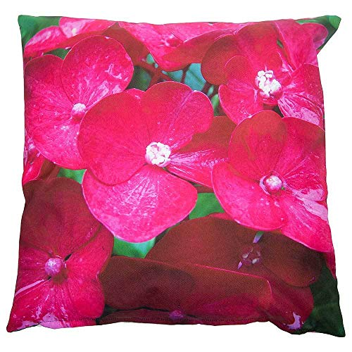 zeitzone Outdoor Kissen Blumen Pink Gartenkissen Wasserabweisend 50x50cm