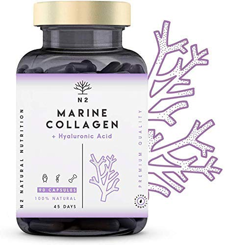 Hydrolysed Marine Collagen Supplement Pills.Hyaluronic Acid Magnesium Vitamin C. Anti-Aging. Skin Joints Bone Hair Nails Care. Best Collagen PEPTAN. 90 Vegetable Capsules EC. N2 Natural Nutrition