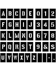 Attisstore 2 inch Letter Stencils Kit, Plastic Letters and Numbers Interlocking Stencil Set 138 Piece