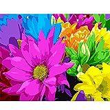wangxiuliu Pintura de Bricolaje por números Coloridas Flores de Margarita en Lienzo Cuadros de Arte de Pared decoración para el hogar para Sala 40X50 Sin Marco