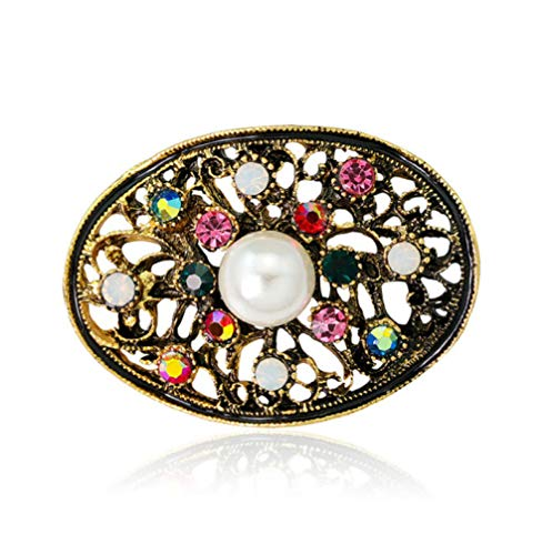N/W Pearl Brooch Pink Crystal Rhinestone Pins and Brooches for Women Antique Gold Brooch Jewelry Coat Scarf Accessories Gift
