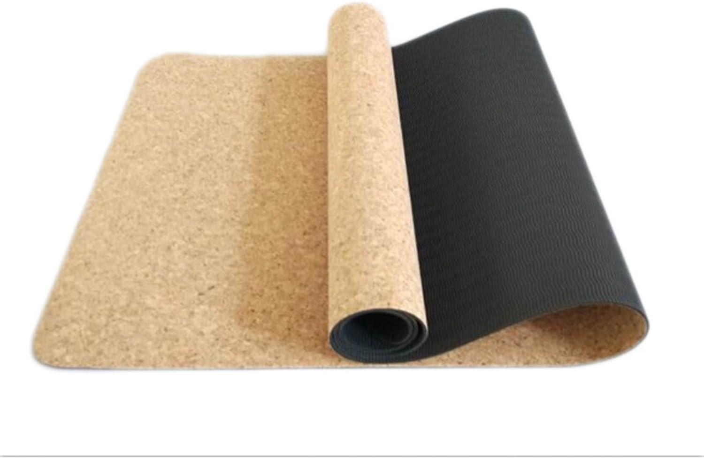 Cork Yoga Mats, Yoga Mat Length 1730 Width 610Thickness 6mm Pilates Exercise Mat Fitness Mat Double AntiSlip Mat (color   B, Size   173  61cm)