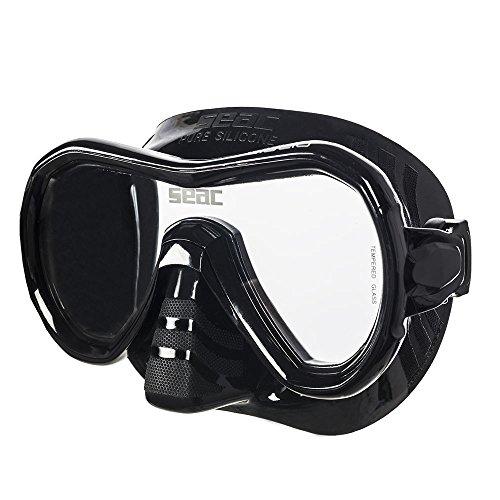 Seac Giglio, Einglasmaske zum Schnorcheln und Tauchen für Erwachsene, schwarz