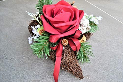 Grabgesteck Herz mit Engel Rose rot Grabschmuck künstlich Allerheiligen Trauer