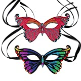 DIY Diamond Paintings Masquerade Party Mask 2 Pieces Butterfly Shiny Special Shaped Crystal Handicrafts, Mosaic Make Suitable for All Kinds of Party Kids Women and Men