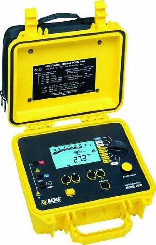 AEMC 1050 Digital Megohmmeter, 50/100/250/500/1,000V Test Voltages, 4,000 Gigohms Insulation Resistance, 400 Kilohms Low-Resistance, 5 Microfarads Capacitance, 1,000V Voltage