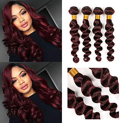 Barroko Hair Burgundy Weave Extensions Loose Wave 99J Colored 100% Human Peruvian Loose Curly Wave Bundles 3 Pieces/Lot Christmas Gifts (22 24 26)