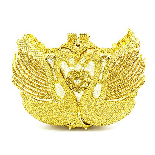 kiss me Damen-Handtasche mit Umschlag und Strass, Schwan, Party, Brautschmuck, Clutch, Schultertasche, Cross-Body-Tasche mit Kette Gr. One size, gold