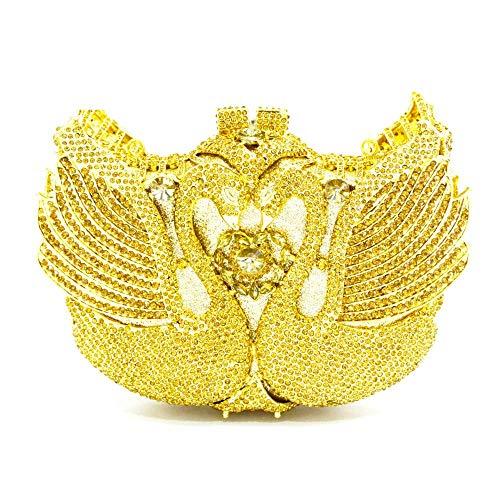 Kiss Me Damen Abend-Handtasche mit Strasssteinen, Schwan, Party, Clutch, Schultertasche mit Kette Gr. One size, gold