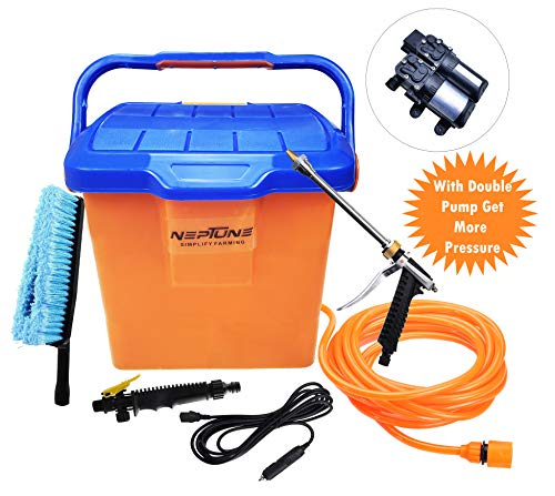 NEPTUNE SIMPLIFY FARMING Portable 16 Liter Bucket Car Washer with 12 V DC Double Pump, High Pressure Gun & Cleaning Brush
