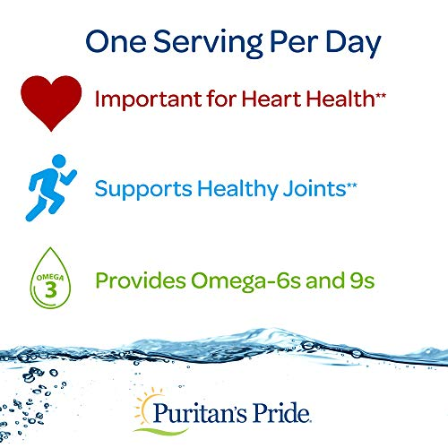 Puritan's Pride Triple Omega 3-6-9 Fish, Flax, and Borage Oils, Omega Fatty Acid Supplement, Purified to Eliminate Mercury, Supports Heart Health, 240 Rapid Release Softgels